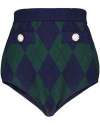 Alessandra Rich High-Rise Shorts aus Wolle - Grün