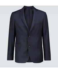 Officine Generale Pinstriped Wool Blazer - Blue