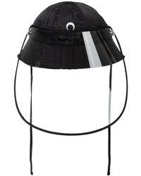 Marine Serre Exklusiv bei Mytheresa – Hut aus Canvas mit Visor - Schwarz