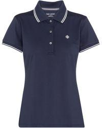 Tory Sport Bedrucktes Poloshirt aus Piqué - Blau