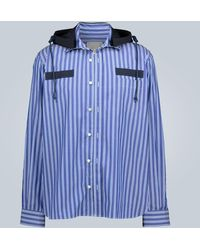 Sacai Gestreiftes Hemd mit Kapuze - Blau