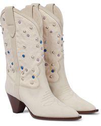 Isabel Marant Botas cowboy Luliette de gamuza - Blanco
