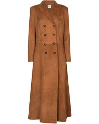 Khaite Marge Double-breasted Suede Coat - Brown