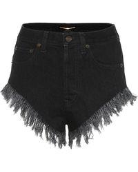 Saint Laurent Shorts di jeans a vita alta - Nero