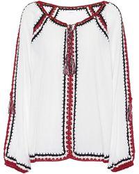 Anna Kosturova Bluse Sailor aus Baumwolle - Weiß