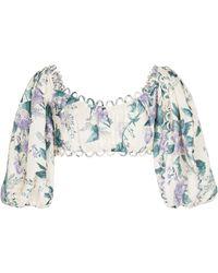 Zimmermann Exclusivo para Mytheresa - crop top Cassia floral - Azul