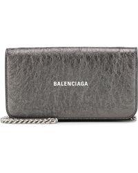 Balenciaga Logo Metallic Leather Clutch