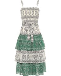 Tory Burch Paisley Cotton Poplin Midi Dress - Green