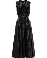 MSGM Faux Leather Midi Dress - Black