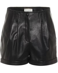 Saint Laurent Shorts in pelle - Nero