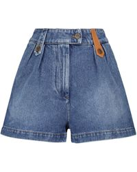 Loewe High-Rise Jeansshorts - Blau