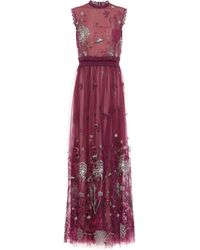 Costarellos Ruby Noir Storytelling Tulle Gown - Purple