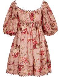 Zimmermann Vestido corto Cassia de lino floral - Rosa
