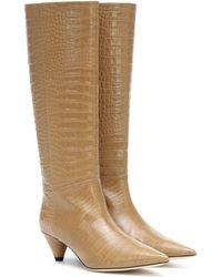JOSEPH Croc-effect Knee-high Boots - Brown