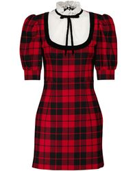 Alessandra Rich Vestido de lana a cuadros - Negro