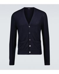 Tom Ford Cashmere And Silk-blend Cardigan - Blue