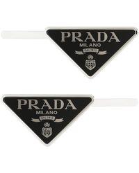 Prada Set Of 2 Logo Hair Clips - Black