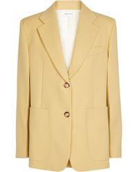 Victoria Beckham Einreihiger Blazer aus Wolle - Gelb
