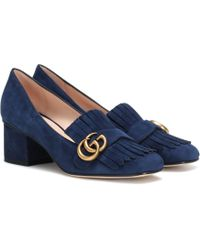 Gucci Marmont Suede Loafer Court Shoes - Blue