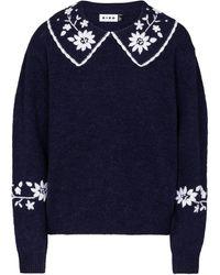 RIXO London Lula Embroidered Wool Sweater - Blue