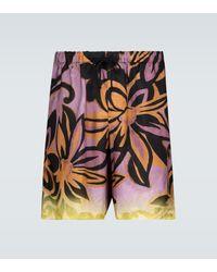 Dries Van Noten Floral Printed Shorts - Purple