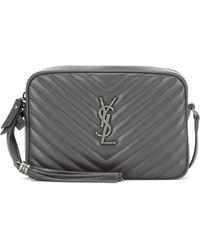 Saint Laurent Lou Leather Camera Bag - Grey