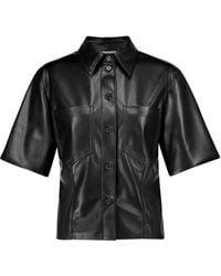 Nanushka Sabine Faux Leather Shirt - Black