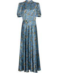 Brock Collection Vestido largo Tracy satén de seda - Azul