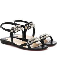 Christian Louboutin Galerietta Embellished Leather Sandals - Black