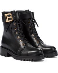 Balmain Ankle Boots Ranger Romy aus Leder - Schwarz