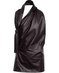 Bottega Veneta Halterneck Leather Top - Black
