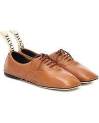Loewe Leather Derby Shoes - Brown