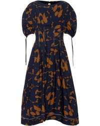 Marni Printed Cotton Midi Dress - Blue