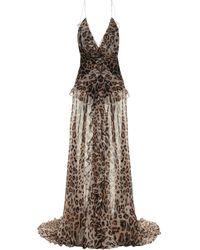 Etro Leopard-print Silk Crêpe De Chine Gown - Natural