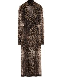 Dolce & Gabbana Leopard-print Silk Trench Coat - Multicolor