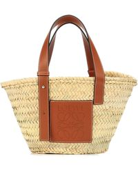 Loewe Small Leather-trimmed Basket Tote - Multicolour