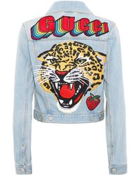Gucci Embroidered Denim Jacket - Blue