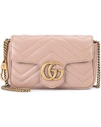 Gucci Gg Marmont Mini Leather Shoulder Bag - Natural