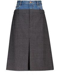 Balenciaga Falda de denim y lana virgen - Gris