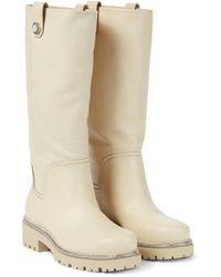 Rene Caovilla Embellished Leather Knee-high Boots - White
