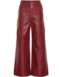 Dodo Bar Or Magen Leather Wide-leg Trousers - Red