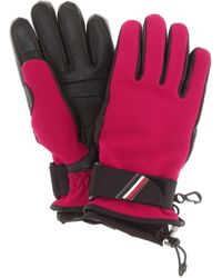 3 MONCLER GRENOBLE Leather Panel Gloves - Pink