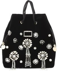 Roger Vivier Viv' Pocket Soirée Mini Bucket Bag - Black