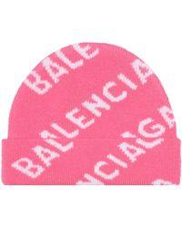 Balenciaga Gorro de lana intarsia - Rosa