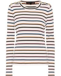 Veronica Beard Striped Stretch-cotton Top - Multicolour