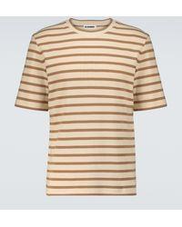 Jil Sander Gestreiftes T-Shirt aus Baumwolle - Natur