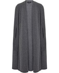 JOSEPH Open Wool Knit Cape - Gray