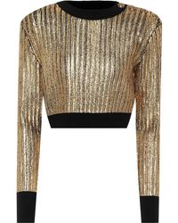 Balmain Cropped Lamé Top - Multicolour