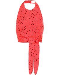 Rebecca Vallance Holliday Linen-blend Polka-dot Top - Red