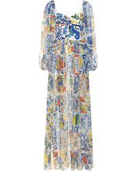 Dolce & Gabbana Majolica Silk-blend Chiffon Gown - Blue